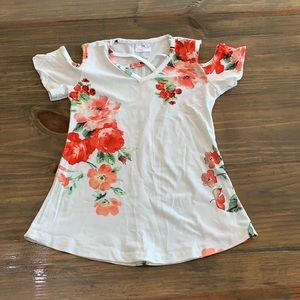 White and Coral Cold Shoulder Top. Size medium(4t)